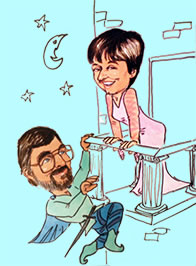 Caricature by Deano of Sarah as Juliet on a balcony and Eric as Romeo climbing up to her.